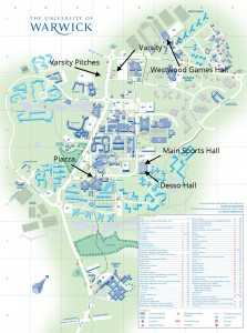 A map of campus with useful locations labelled (click to zoom).